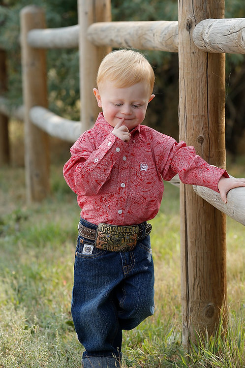 CINCH TODDLER RED AND WHITE PAISLEY SHIRT