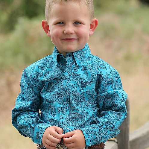 CINCH BOYS TURQUOISE & NAVY PAISLEY BUTTON UP SHIRT MTW7062208