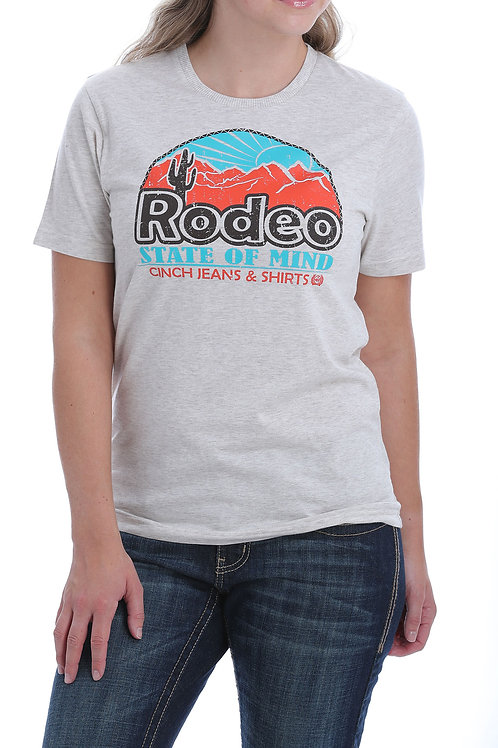 "CINCH LADIES ""RODEO STATE OF MIND""HEATHER CREAM GRAPHIC TEE"