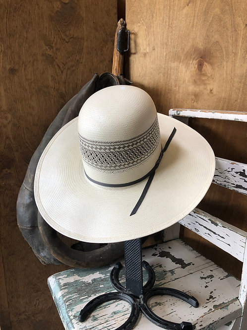 American Hat Straw - 4100 - Solid Weave Fancy Vent - Grey / Ivory