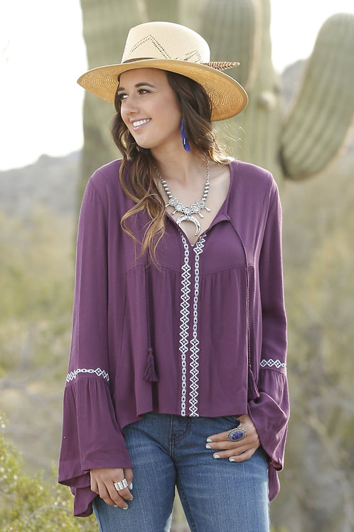 Cruel LADIES  PURPLE BELL SLEEVE BLOUSE