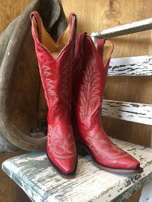 """Boulet 3636 Ladies 13"""" Deerlite Red snip toe cowboy boot"""