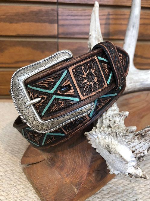 3D Belt® D1742 Men's Vintage Brown Floral Belt W/Turquoise Accent