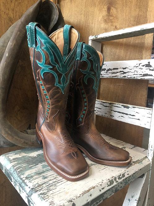 Boulet 8294 Ladies Wide Square Toe Turqueza Cowboy Boots