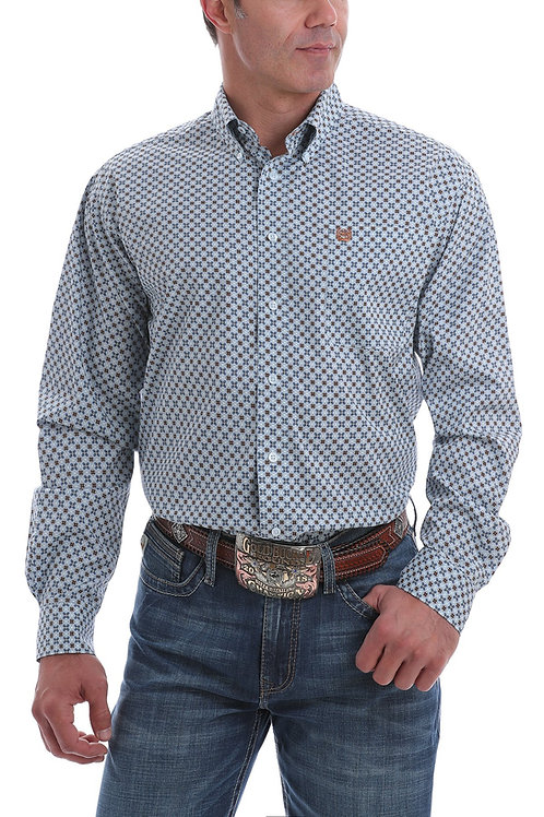 CINCH MENS STRETCH BLUE, WHITE AND BROWN MEDALLION PRINT BUTTON DOWN