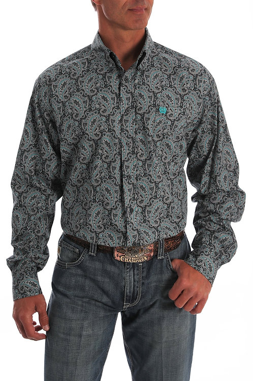 Cinch MEN'S GREY AND TURQUOISE PAISLEY SHIRT