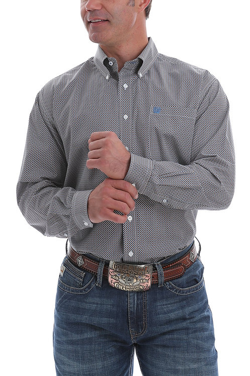 CINCH MENS WHITE, NAVY AND BROWN MICRO GEO PRINT BUTTON DOWN WESTERN SHIRT