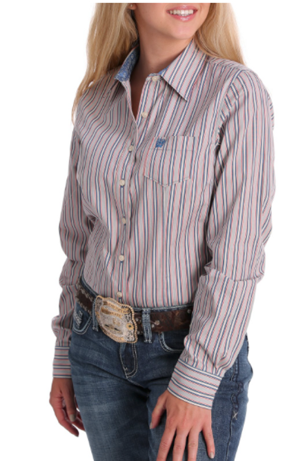 Cinch WOMEN'S BLUE, NAVY, RED AND WHITE STRIPE BUTTON-DOWN MSW9164137
