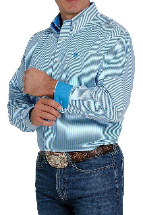 CINCH MENS TURQUOISE AND WHITE TENCEL FABRIC BUTTON DOWN STRIPE SHIRT