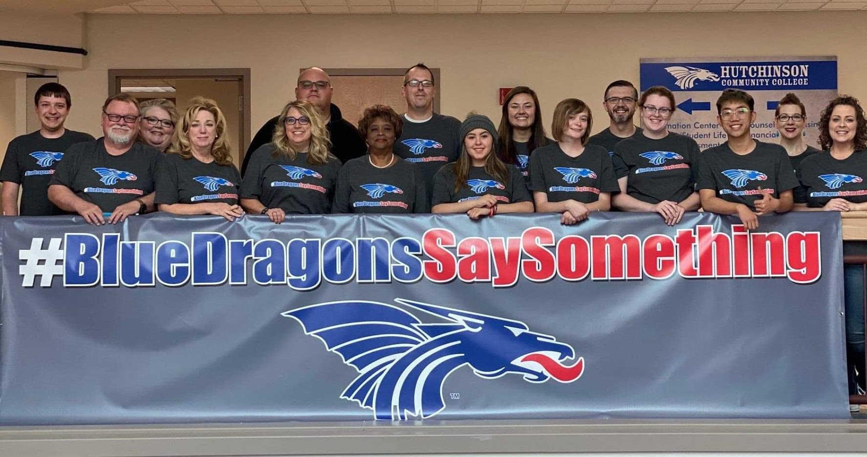 #BlueDragonsSaySomething Hutchinson Community College Custom Apparel & Banner