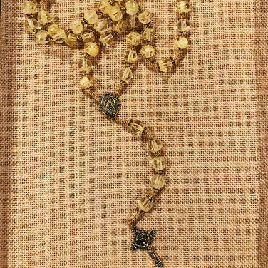 A beautiful petal bead rosary made with the bride's bouquet.jpg