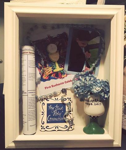 Thank you _jenazzam for using #TimelessMemoriesByMJ to create this Shadowbox from the beautiful memories from your son's First Holy Communio