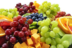 Platter of assorted fresh fruit and cheese