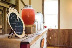 raspberry lemonade and water