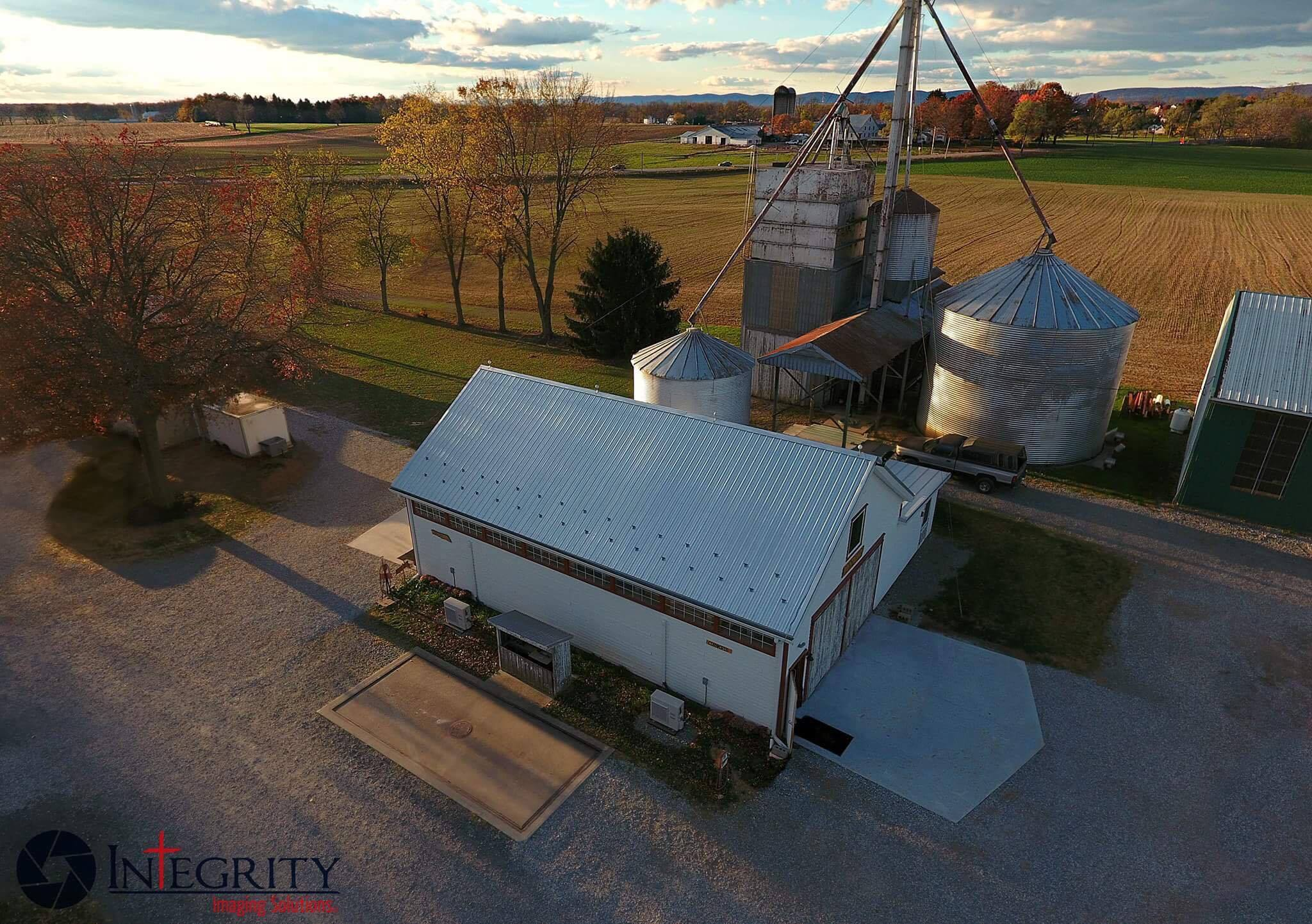 aerial photo corn crib
