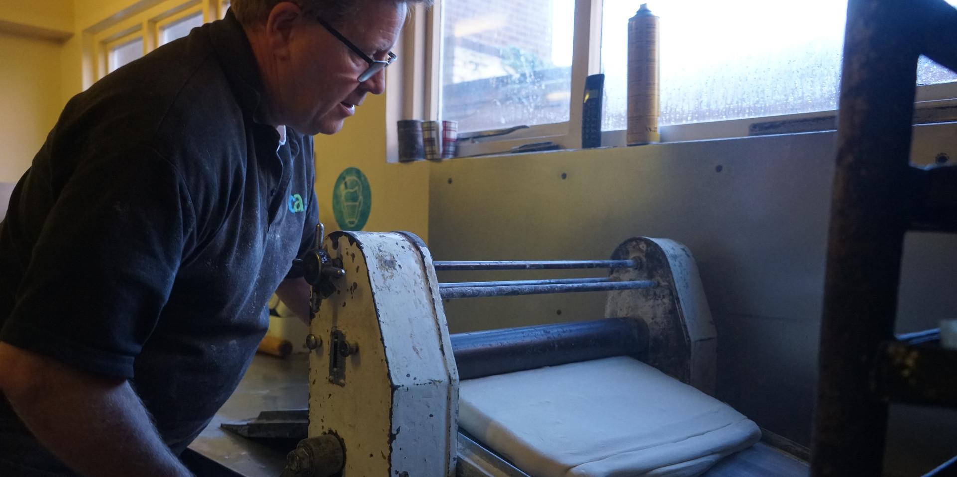 Mark working the Danish pastry