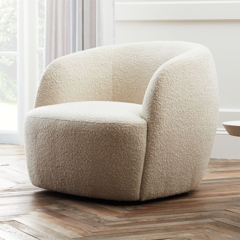 Creamy Boucle Barrel Chair cb2