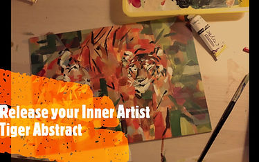 A tiger abstract in acrylics