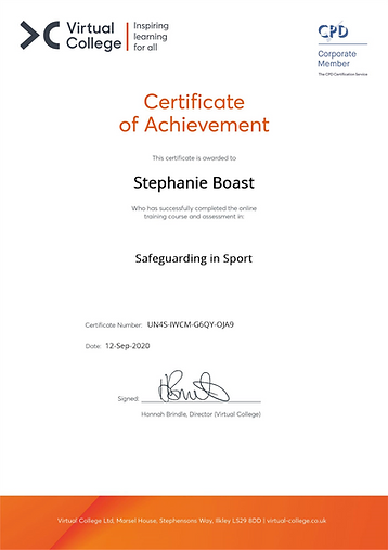 Stephanie Boast - Safeguarding in Sport.