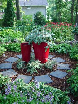 Red pots in the garden