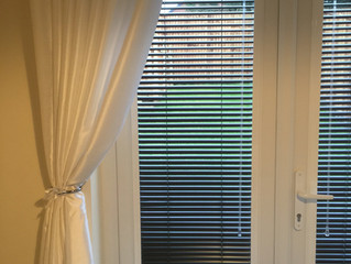 How to dress  uPVC French doors with window blinds.