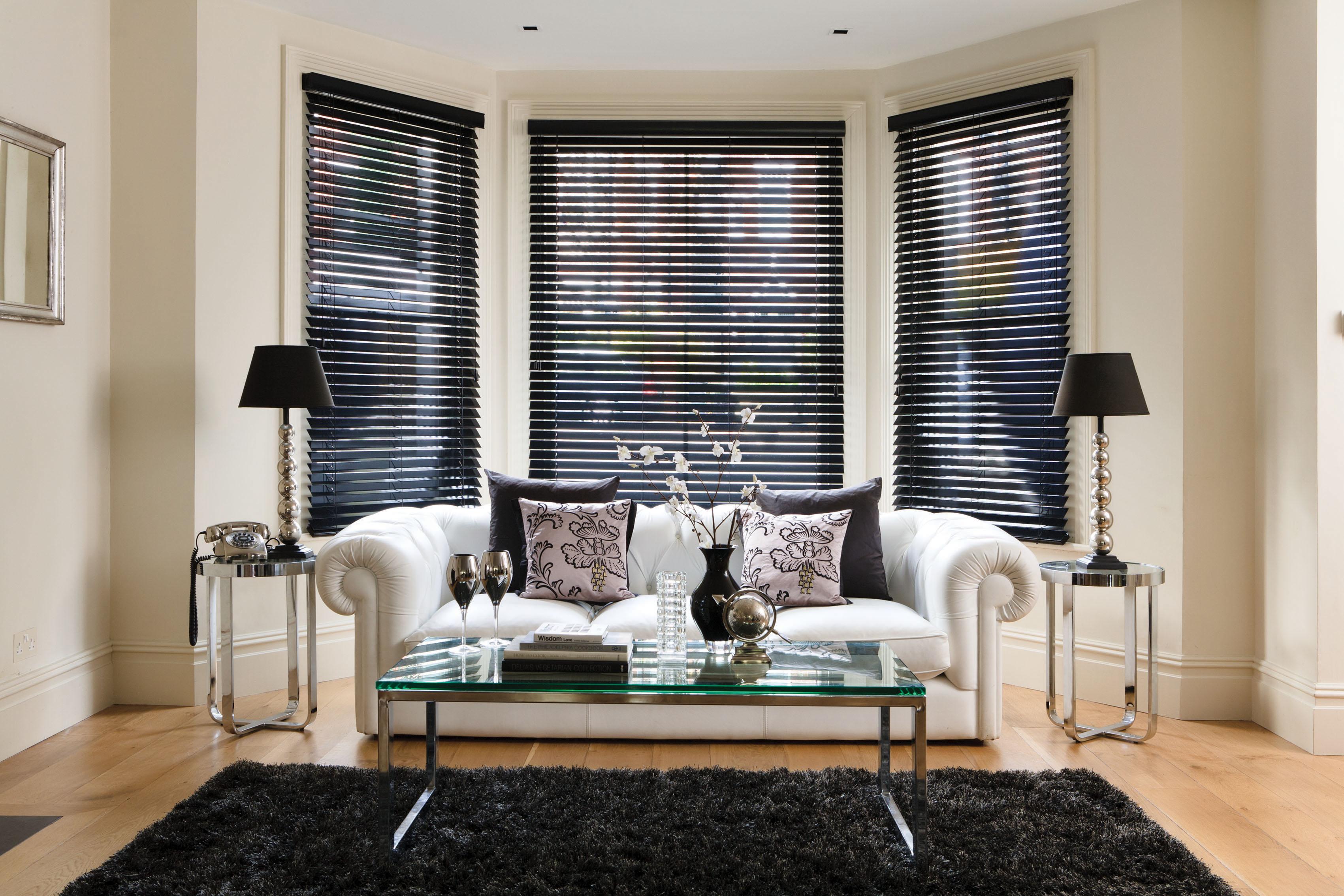 Black Gloss Wood Venetian Blind
