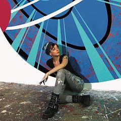 Sur ses toiles comme sur ses murs, Lady M nous projette en apesanteur dans un univers coloré, multidimensionnel, bienveillant...