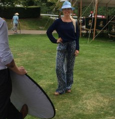 Gok Wans outfit of the day at Goodwood, Charlie in her Laylaleigh trilby