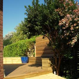 Raised Seating & Cedar Slat Fence