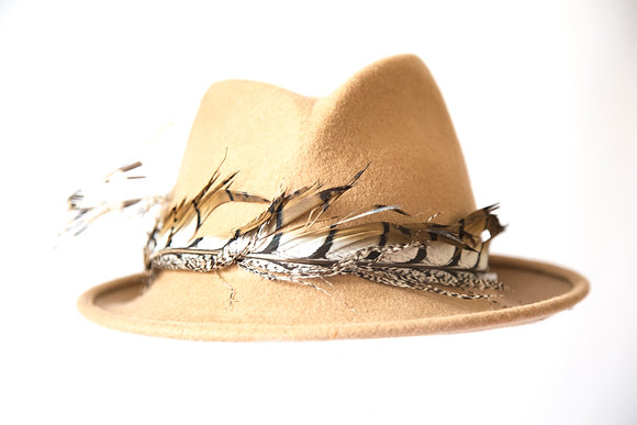 Winter Camel Feather Trilby