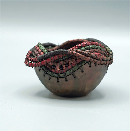Tiny Coiled Gourd with Black Beads