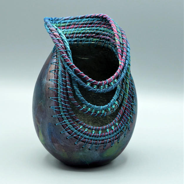 Teal and Plum gourd Vase
