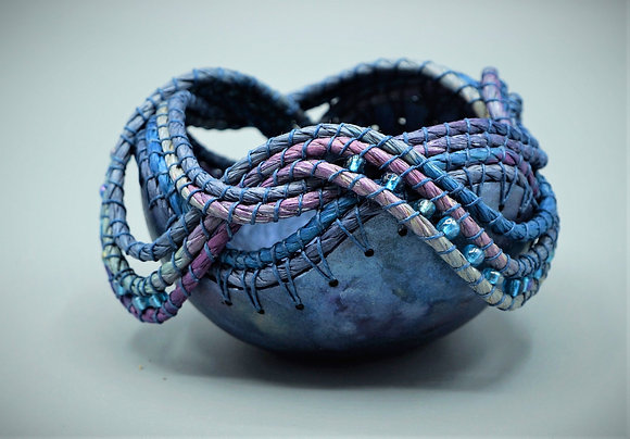 Mini Coiled Gourd Blue Beads