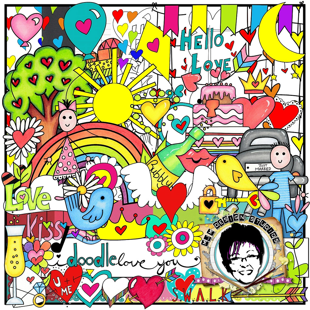 Oodles of doodles in this digital Craft collection all about love, great for all those loved up craft projects. A collection full of hearts and rainbows, blue birds and balloons, sure to bring a smile to anyone's face. Made with love by me for you!