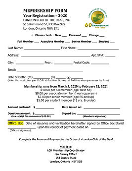 MEMBERSHIP FORM special 60th - 2020 - 20