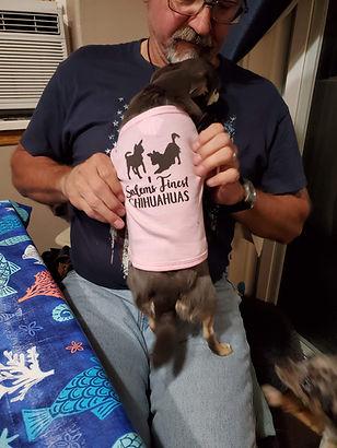 Daphne wearing the SFC SWAG dog shirt!