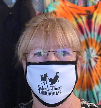 Joanne wearing the SFC SWAG mask!