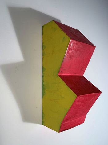 Red on Yellow with Green (left view), 2019