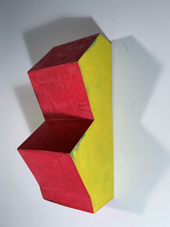 Red on Yellow with Green (right view), 2019