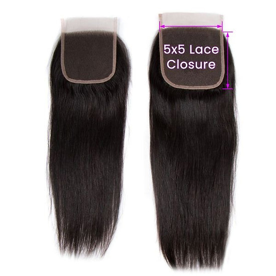 5x5 Transparent Lace Straight Closure