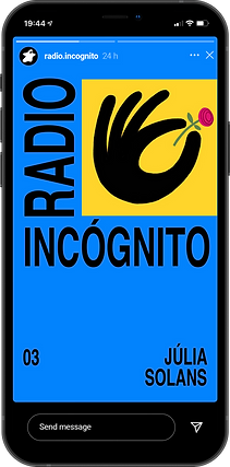 Branding for Radio Incógnito, a podcast about illustration. Iphone shows an artwork of Julia Solans on an instagram story
