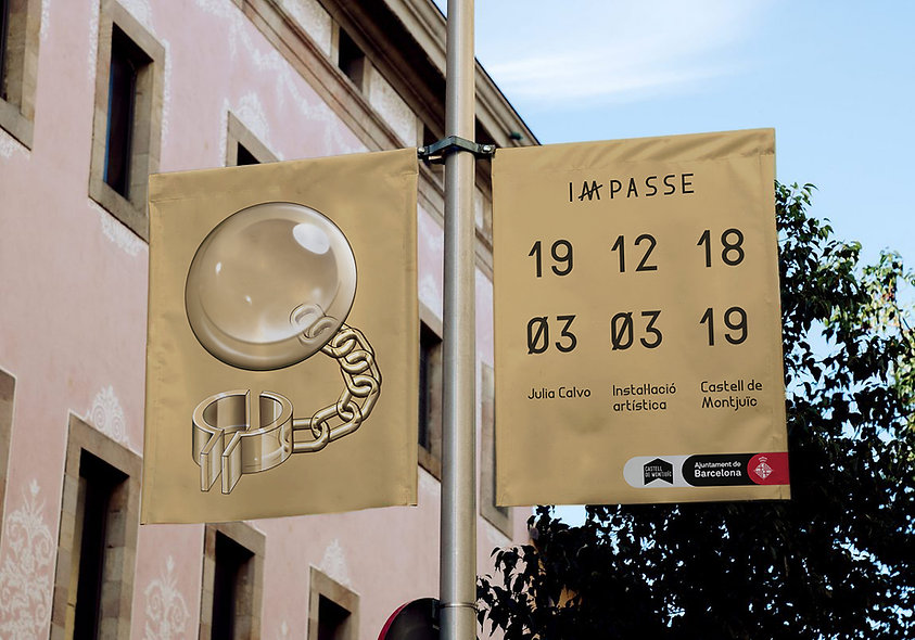 Banner designed and illustrated for an art exhibition in Castell de Montjüic in Barcelona shows a prison ball and chain made of glass