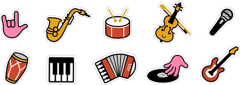 Icons for Acció Cultura Viva. A musical event promoted by the Barcelona City Council