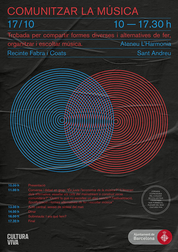 Minimalist and op-art graphic design poster for a music festival in Barcelona