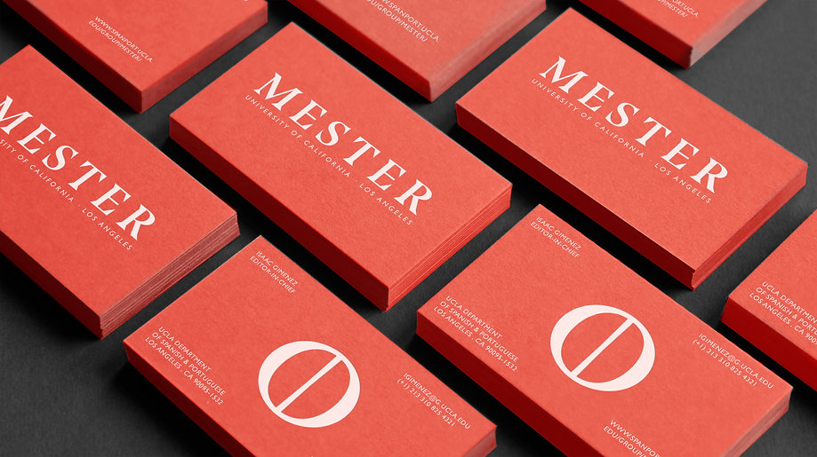Business card branding for Mester, the graduate student academic journal of the Department of Spanish and Portuguese at the University of California, Los Angeles