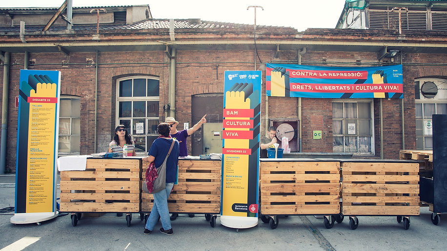 Illustrated signage and information panels for a live music festival in Barcelona