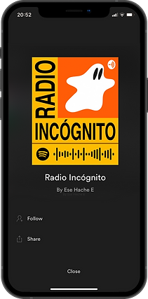 Branding for Radio Incógnito, a podcast about illustration. Iphone with logo and mascot on spotify