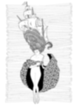 Franz von Bayros illustration woman ship head ink vector