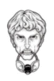 batman, face, dotwork, illustration, black and white