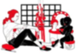 illustration, black and red, fine drawing, art, black girl, flat illustration